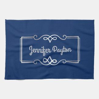 Wedding Anniversary Monogram Silver Navy Blue Kitchen Towel