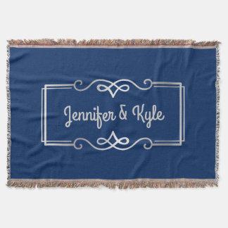 Wedding Anniversary Monogram Silver Navy Blue Throw Blanket