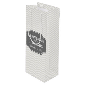 Wedding Anniversary Names Date with Chevrons Wine Gift Bag