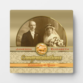 Wedding Anniversary Orange Topaz Gem Damask Photo Display Plaques