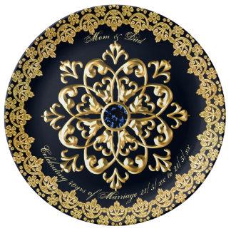 Wedding Anniversary Parents Sapphire Blue Gold Plate