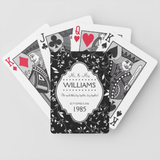 Wedding Anniversary Personalized Black and White Bicycle Playing Cards