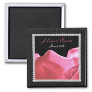 Wedding Anniversary Pink Rose Petals Magnet