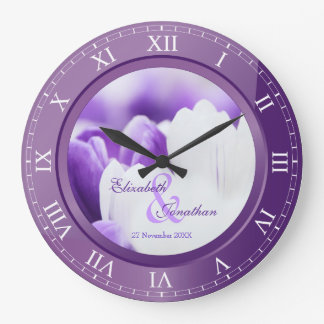 Wedding Anniversary Purple Amethyst Roman Numerals Wallclocks