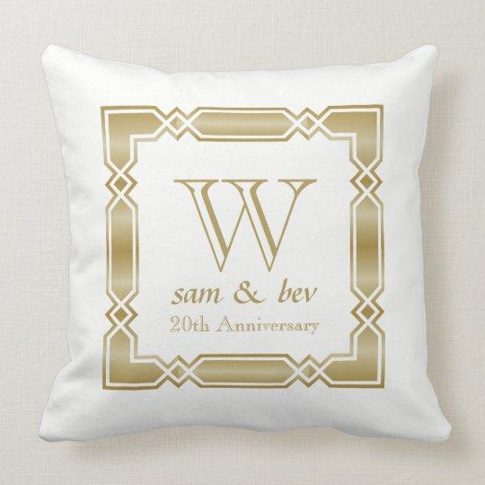 Wedding Anniversary Simple Gold Monogram Photo Throw Pillow
