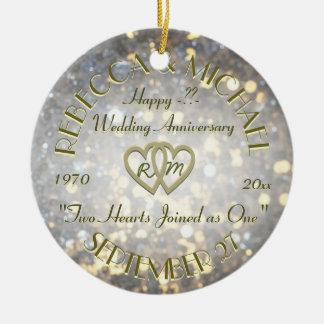 Wedding Anniversary Two Hearts Round Ceramic Ornament