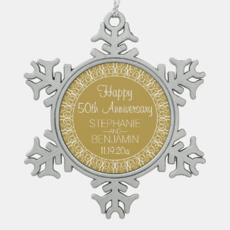 Wedding Anniversary with Bride and Groom Names Snowflake Pewter Christmas Ornament