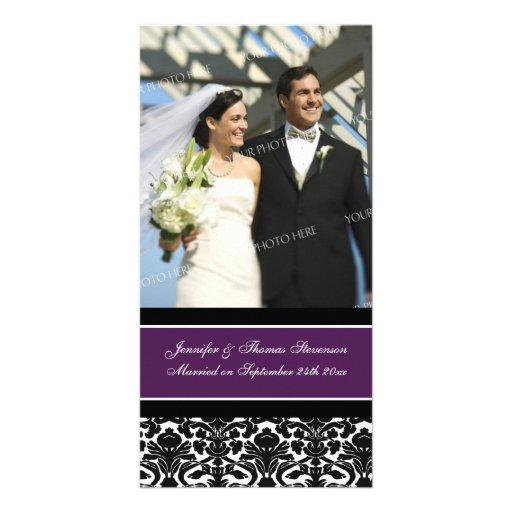 Wedding Announcement Photo Card Plum Damask