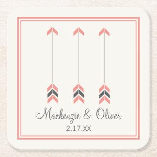 Wedding Arrows Square Paper Coaster