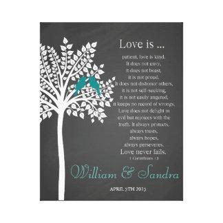 Wedding Art Tree with bird print Corinthians 13:4-