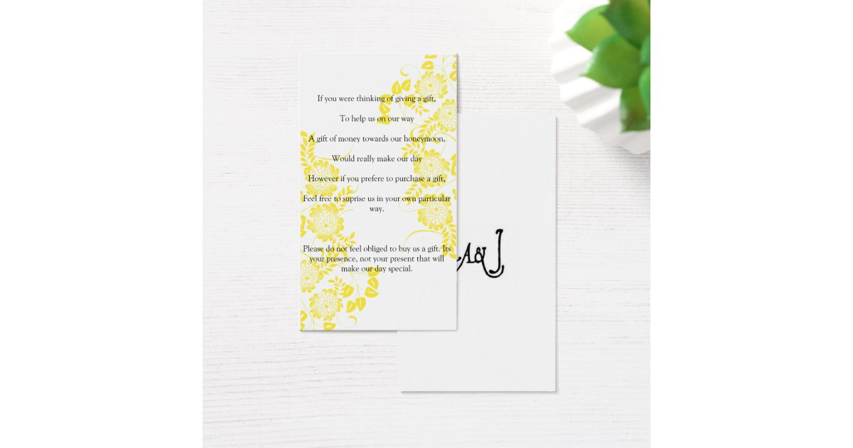 wedding ask for gift of money business card Zazzle