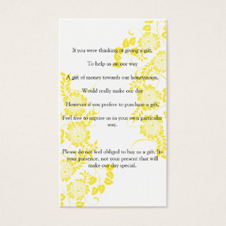 wedding ask for gift of money business card