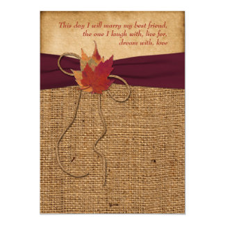 Wedding | Autumn Leaves | FAUX Burlap | Wine Card