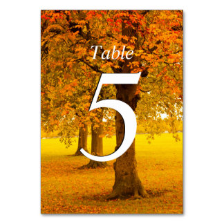 Wedding, Autumn Trees, Numbered Table Card