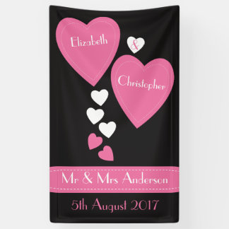 Wedding Backdrop / Photo Booth Black & Pink hearts Banner