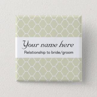 Wedding Badge (serif) 2 Inch Square Button