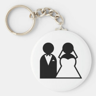wedding basic round button keychain
