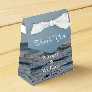 Wedding Beach and Sand Ocean Waves Thank You Favor Box
