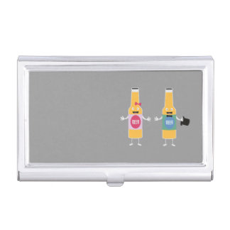 Wedding Beerbottle couple Zn4bx Business Card Holder