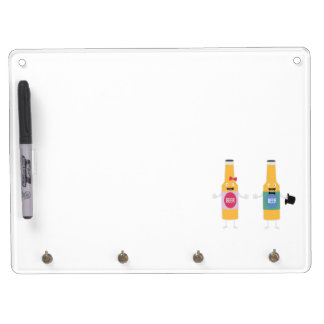 Wedding Beerbottle couple Zn4bx Dry Erase Board With Keychain Holder