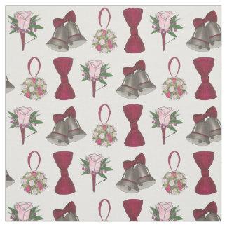 Wedding Bells Bridal Rose Flower Bow Boutonniere Fabric