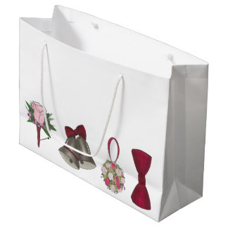 Wedding Bells Bridal Rose Flower Bowtie Gift Bag