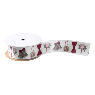 Wedding Bells Bridal Rose Flower Bowtie Ribbon Satin Ribbon