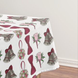 Wedding Bells Bridal Rose Flowers Tablecloth