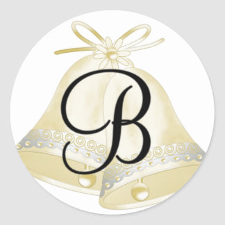 Wedding Bells Monogram B Round Sticker