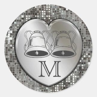 Wedding Bells On Heart Sequins Sticker