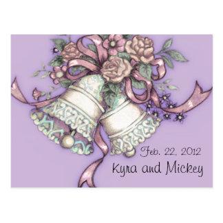 wedding bells save the date postcard