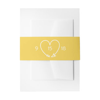 Wedding Belly Band in Gray and Yellow Invitation Belly Band