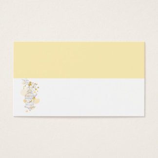 Wedding bird cage yellow white place cards