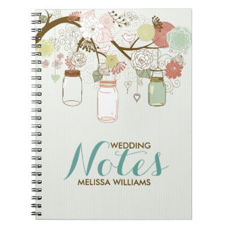 Wedding Birds and Flowers & Mason Jars Spiral Note Book