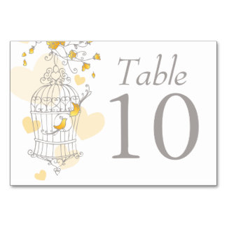 Wedding birds birdcage grey yellow table numbers