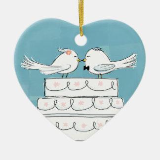 Wedding Birds Ceramic Heart Ornament