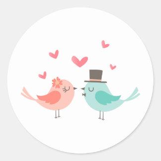WEDDING BIRDS ROUND STICKER
