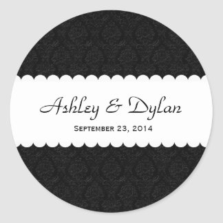 Wedding Black and White with Scalloped Lace V05 Classic Round Sticker