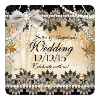 "Wedding Black Cream Beige Lace Asian Floral 5.25"" Square Invitation Card"
