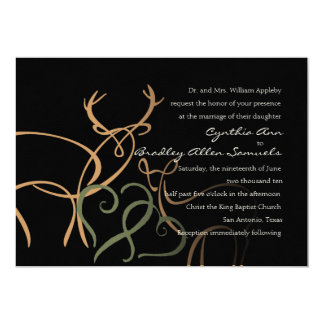 "Wedding Black Tan Green Buck and Doe in Love 5"" X 7"" Invitation Card"