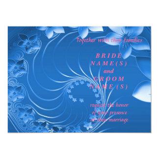 "Wedding - Blue Abstract Flowers 6.5"" X 8.75"" Invitation Card"