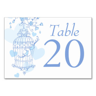Wedding blue birds open birdcage table numbers
