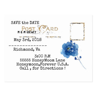 WEDDING-BLUE-GOLD-SIMPLE-TEMPLATE POSTCARD
