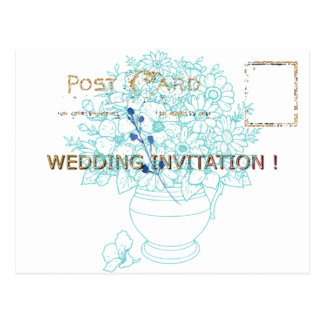 WEDDING-BLUE-GOLD-VINTAGE--TEMPLATE POSTCARD