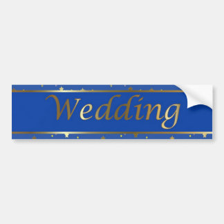Wedding Blue Golden Stars Bumper Sticker