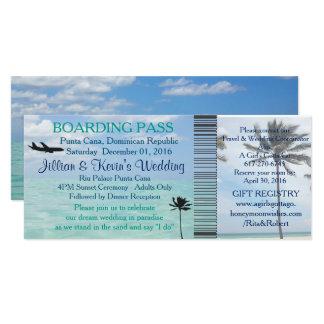 "Wedding Boarding Pass Ticket Beach Destination 4"" X 9.25"" Invitation Card"