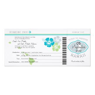 "Wedding Boarding Pass to Hawaii 4"" X 9.25"" Invitation Card"