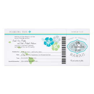 Wedding Boarding Pass to Hawaii Announcement