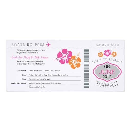 Wedding Boarding Pass to Hawaii Personalized Invites
