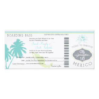 "Wedding Boarding Pass to Mexico 4"" X 9.25"" Invitation Card"